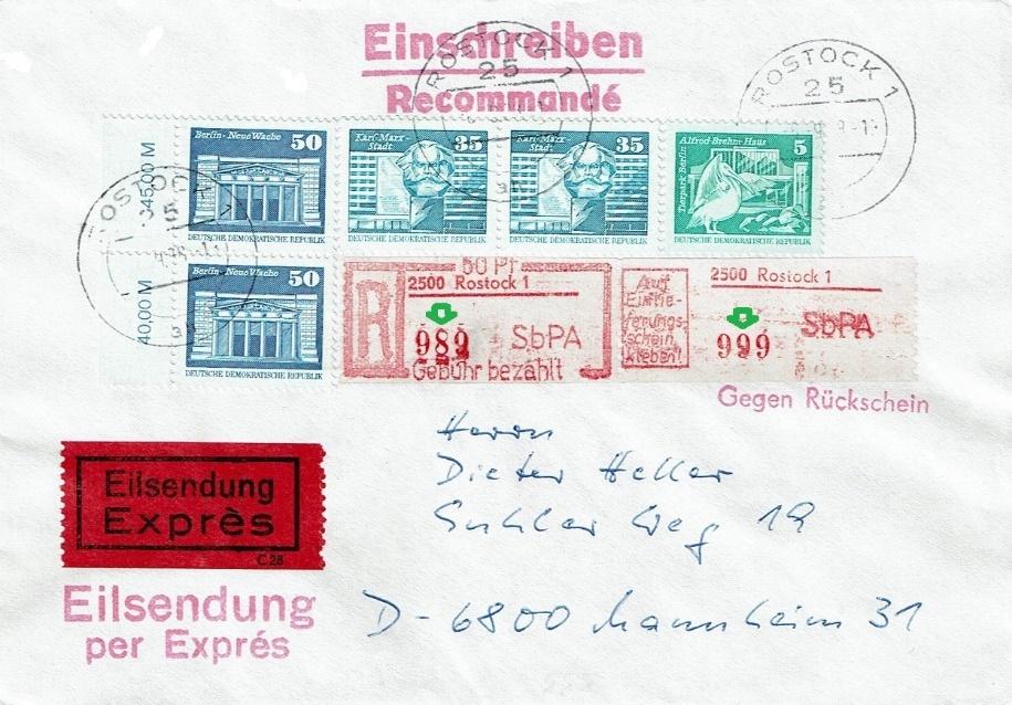 DDR Philatelie Einschreiben SbPA