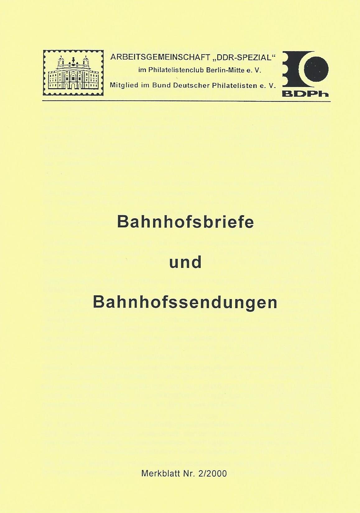 DDR Philatelie Literatur Bahnhofssendung Bahnhofsbrief