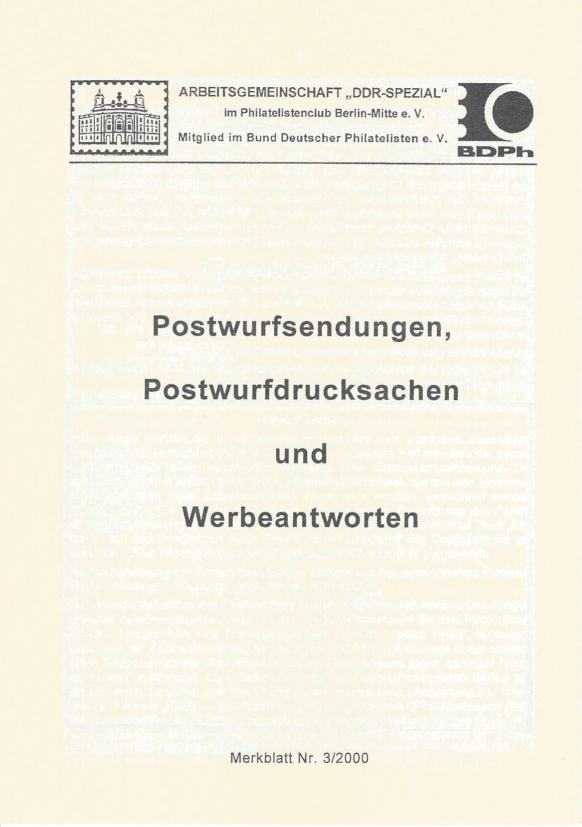 DDR Philatelie Literatur Postwurfsendung Werbeantwort