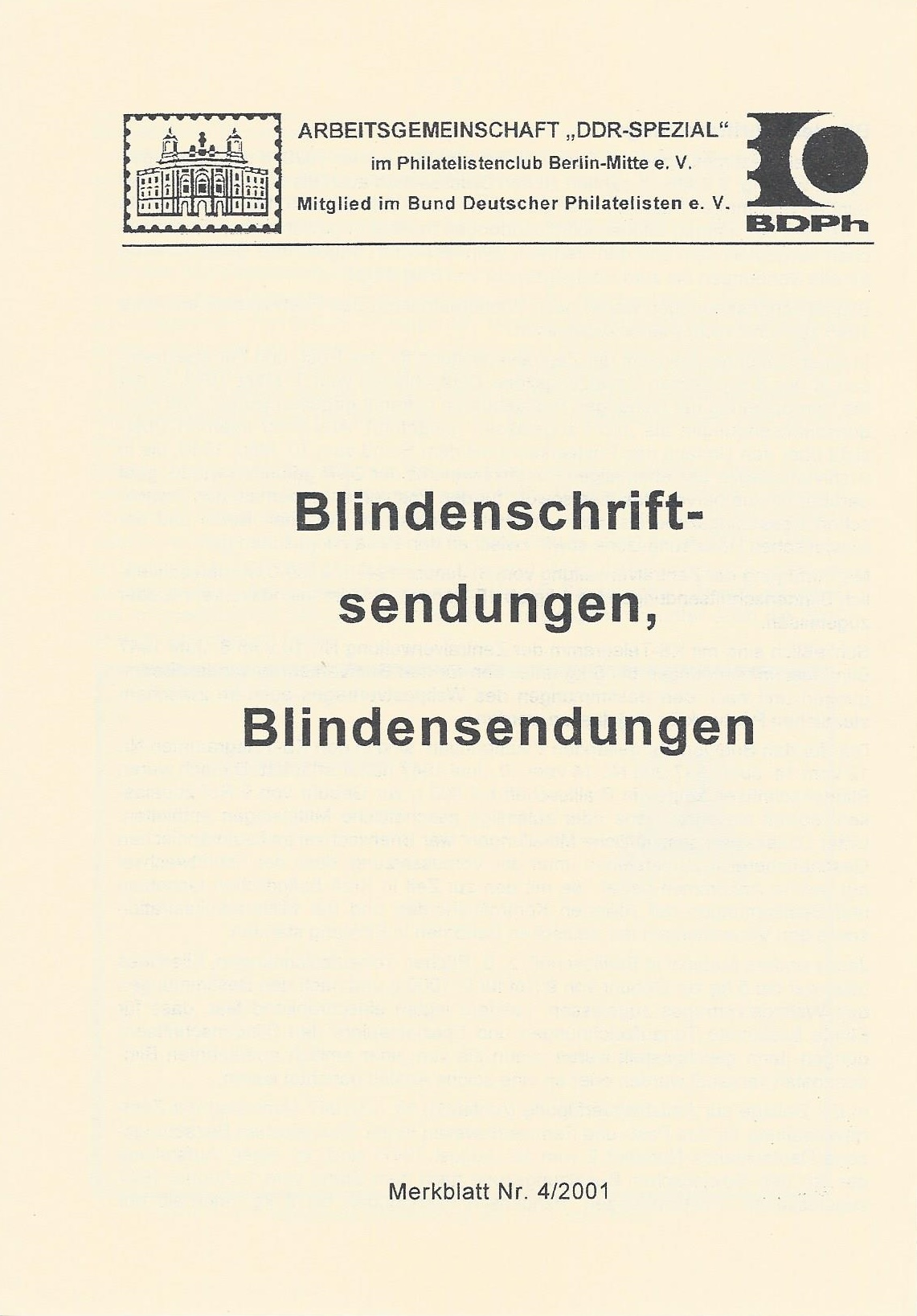 DDR Philatelie Literatur Blindensendung