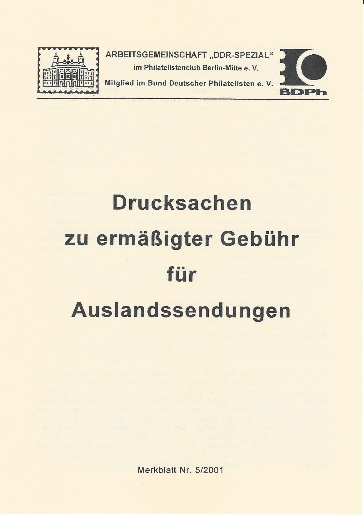 DDR Philatelie Literatur Drucksachen Auslandssendung