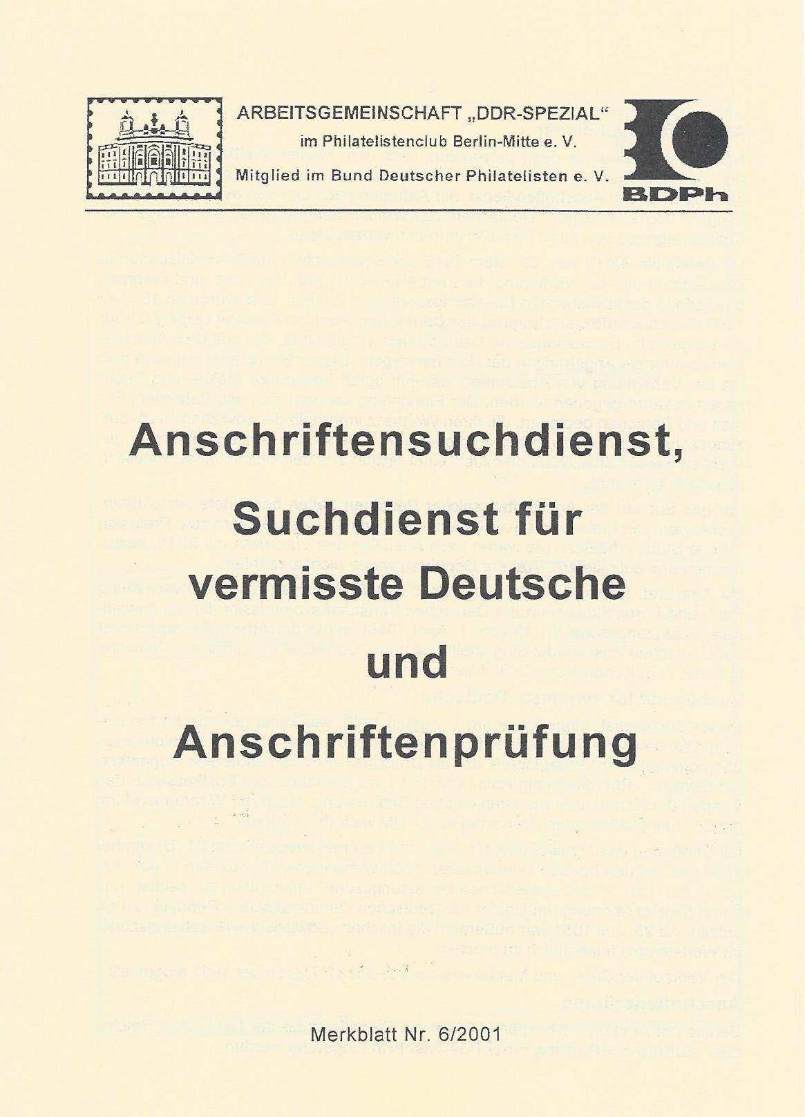 DDR Philatelie Literatur Anschriftensuchdienst