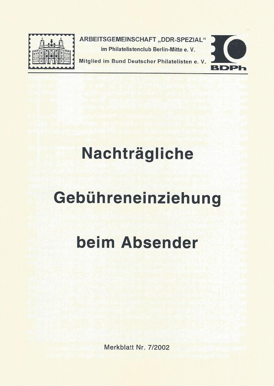 DDR Philatelie Literatur nachträgliche Gebühreneinziehung