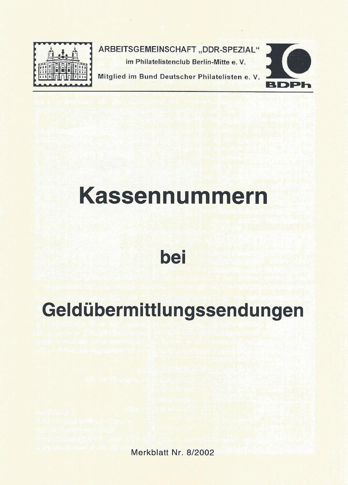 DDR Philatelie Literatur Kassennummern Geldübermittlung