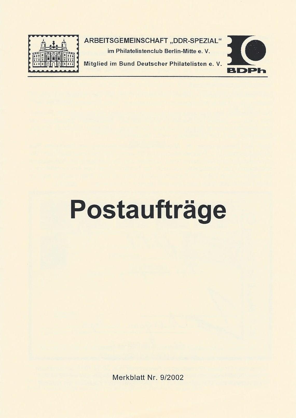DDR Philatelie Literatur Postaufträge
