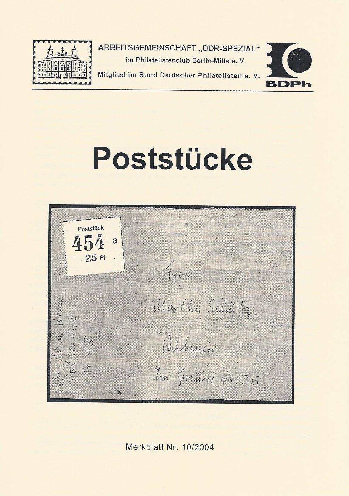 DDR Philatelie Literatur Poststücke