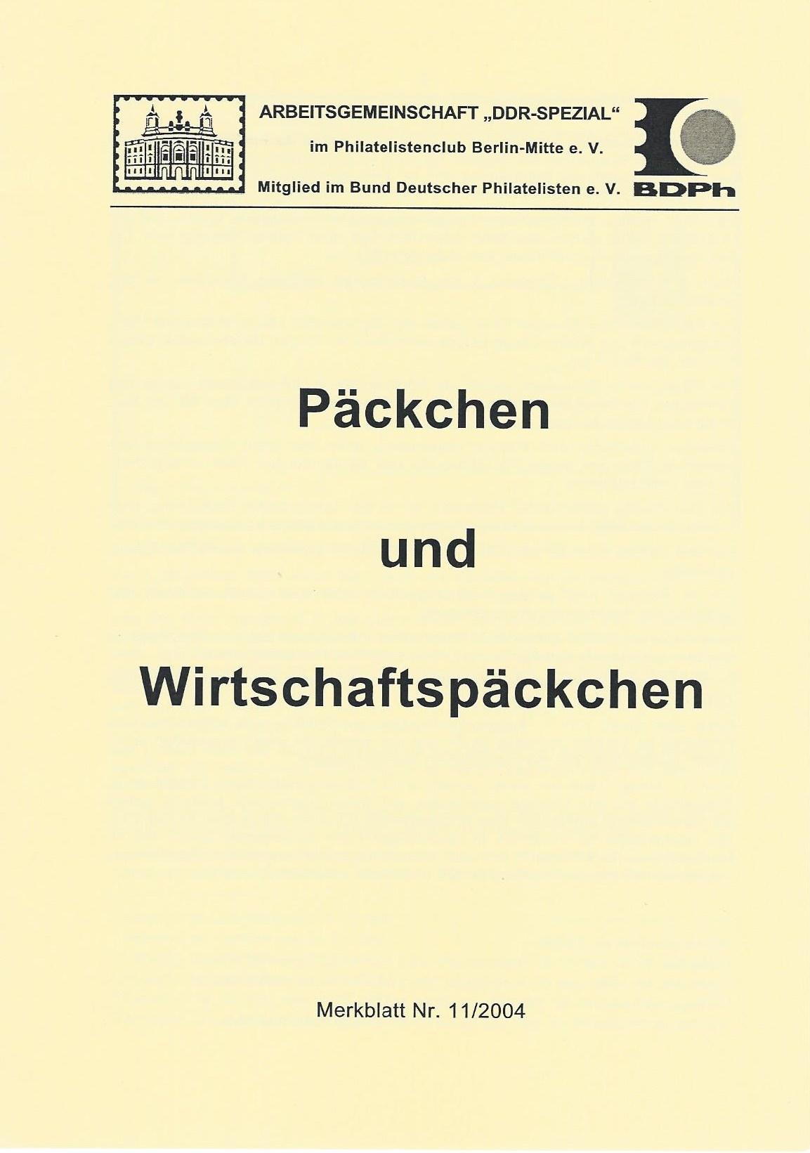 DDR Philatelie Literatur Päckchen