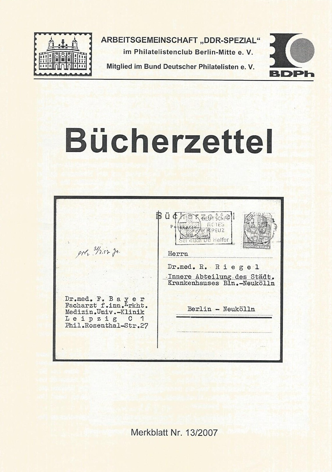 DDR Philatelie Literatur Bücherzettel
