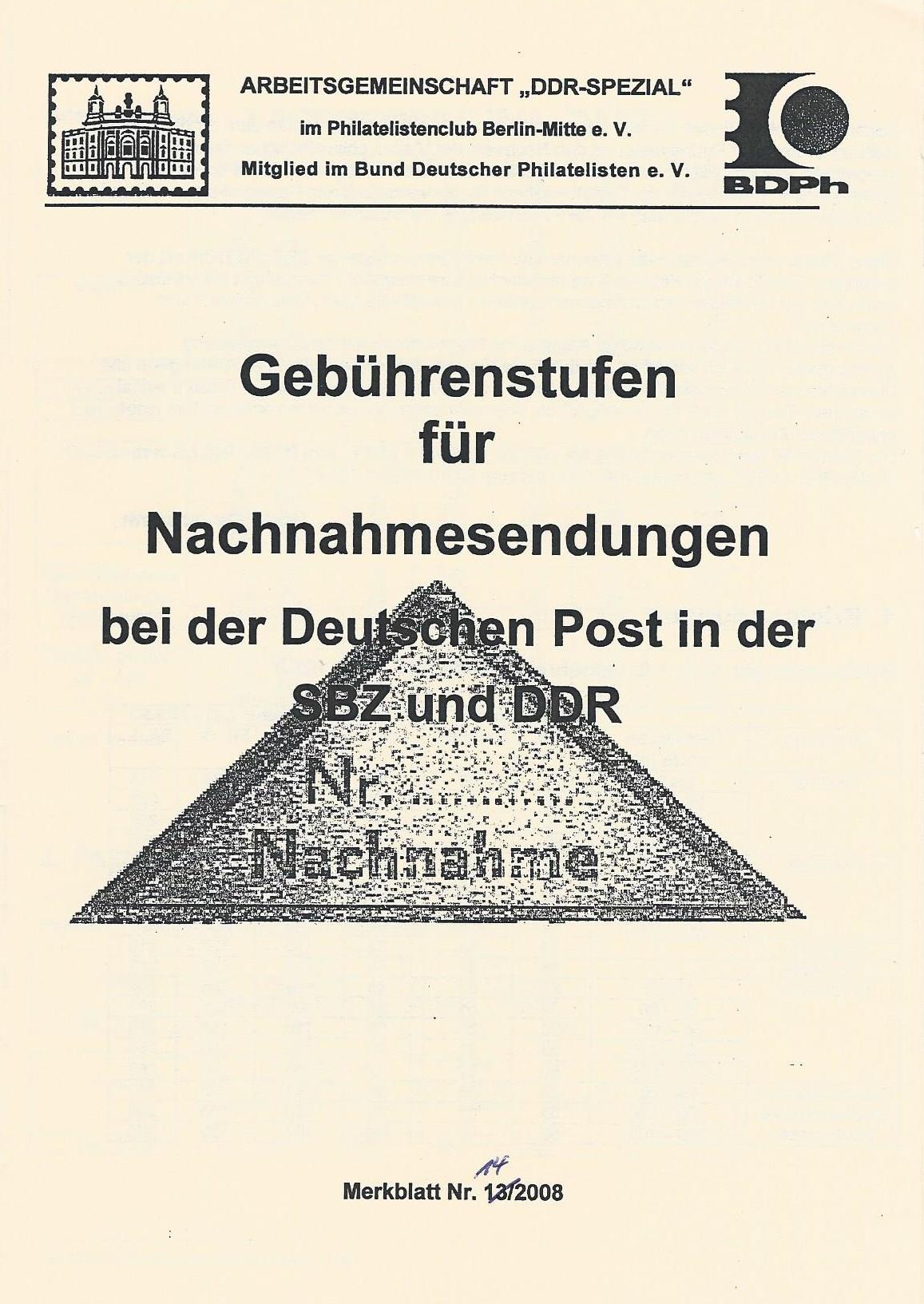 DDR Philatelie Literatur Nachnahme