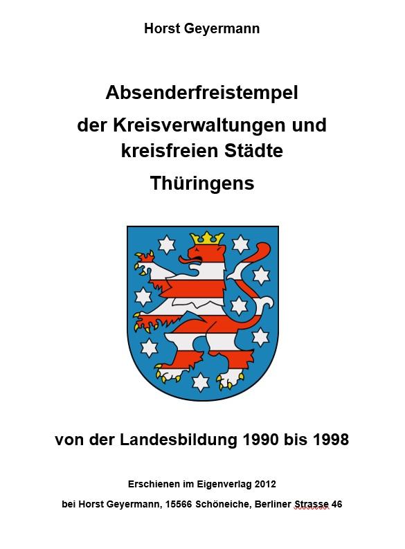 DDR Philatelie Literatur Absenderfreistempel Thüringen