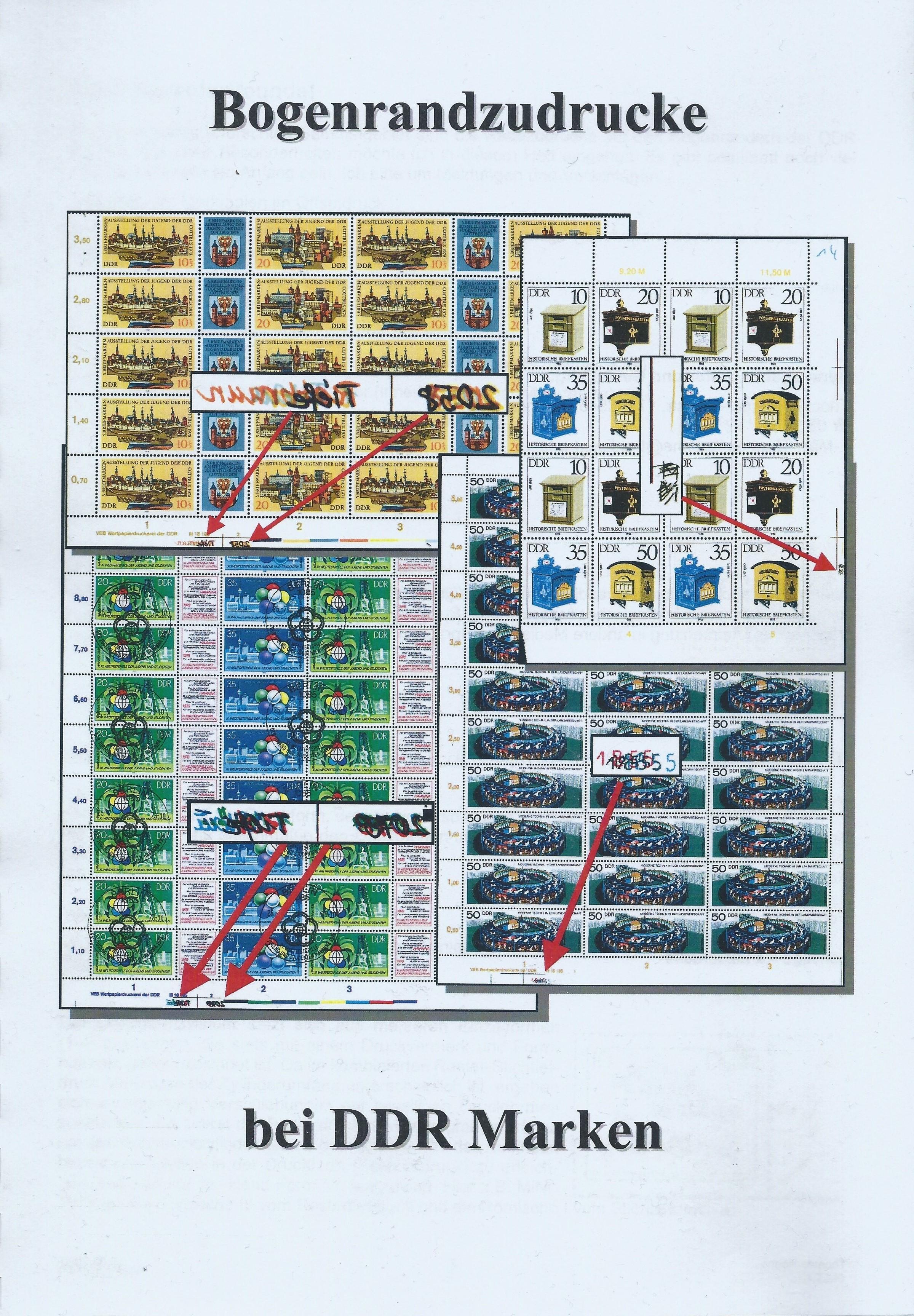 Bogenrandzudrucke bei DDR-Marken