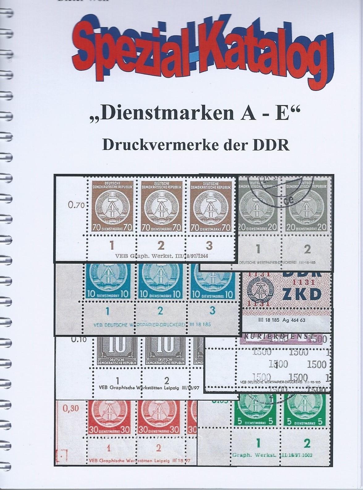 DDR Philatelie Literatur Dienstmarken Druckvermerke