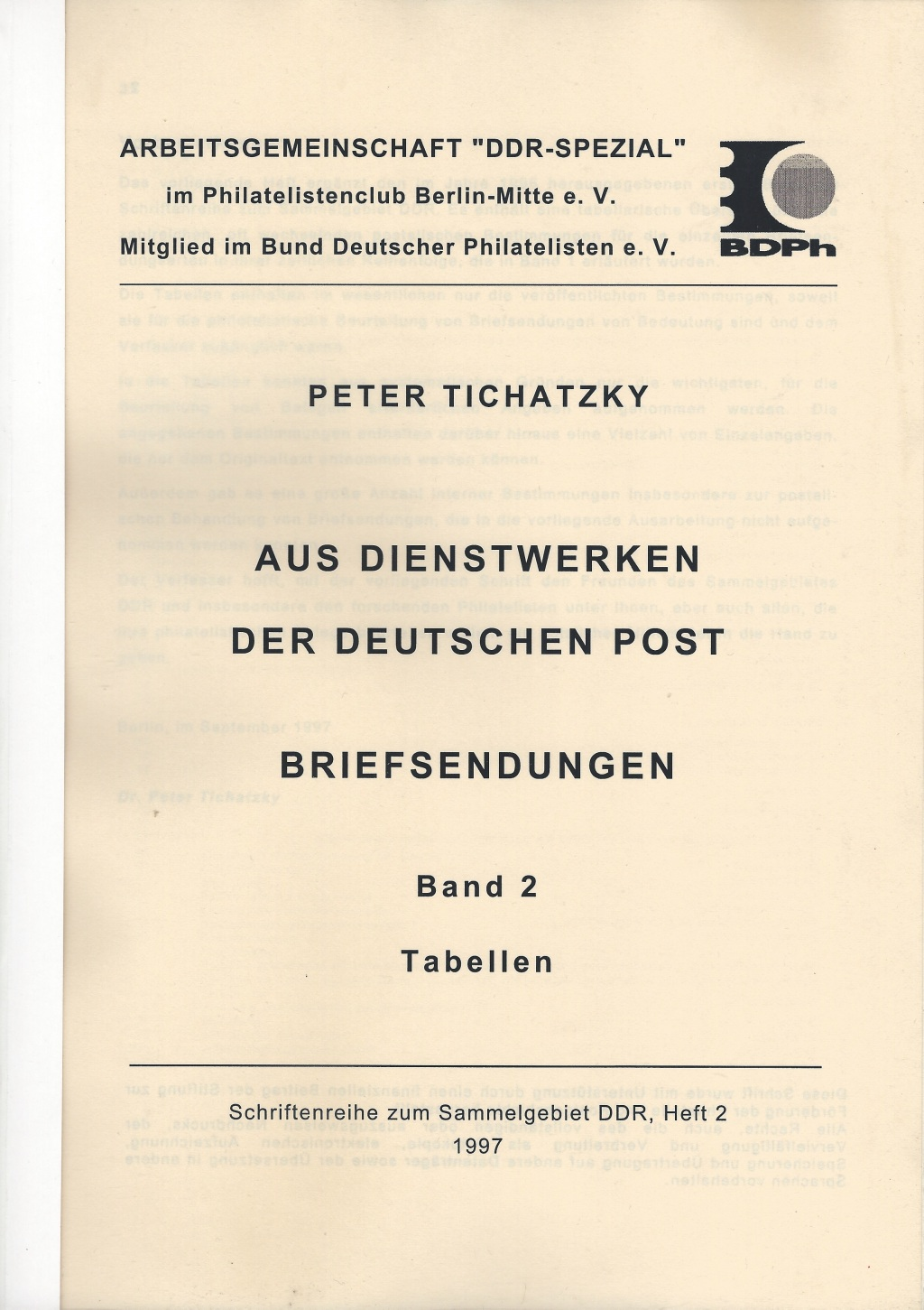 DDR Philatelie Literatur Dienstwerke Deutsche Post