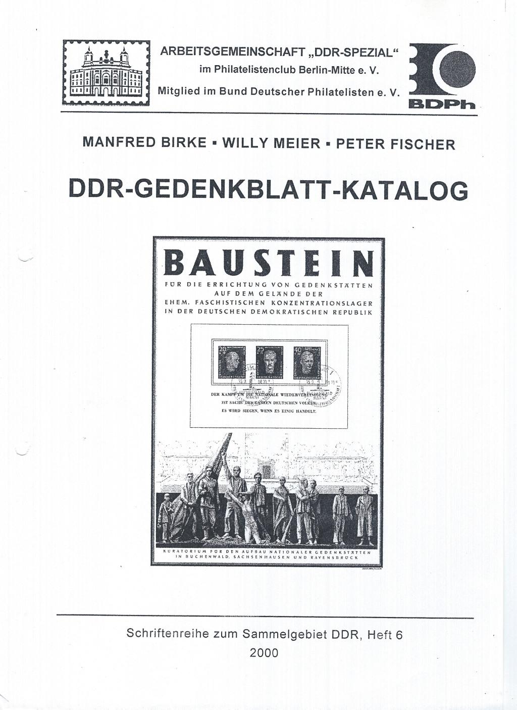 DDR Philatelie Literatur Gedenkblatt Katalog