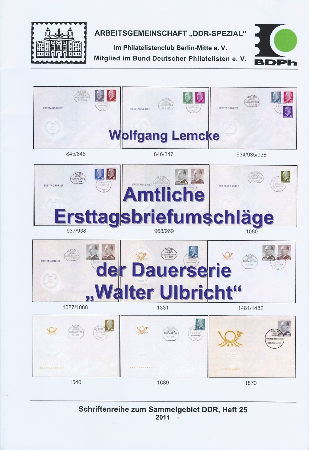 DDR Philatelie Literatur FDC Ersttagsbriefe Walter Ulbricht