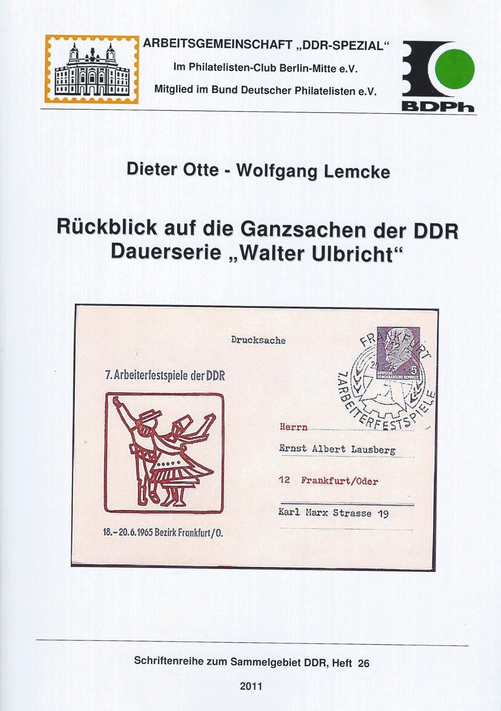 DDR Philatelie Literatur Dauerserie Walter Ulbricht Ganzsachen