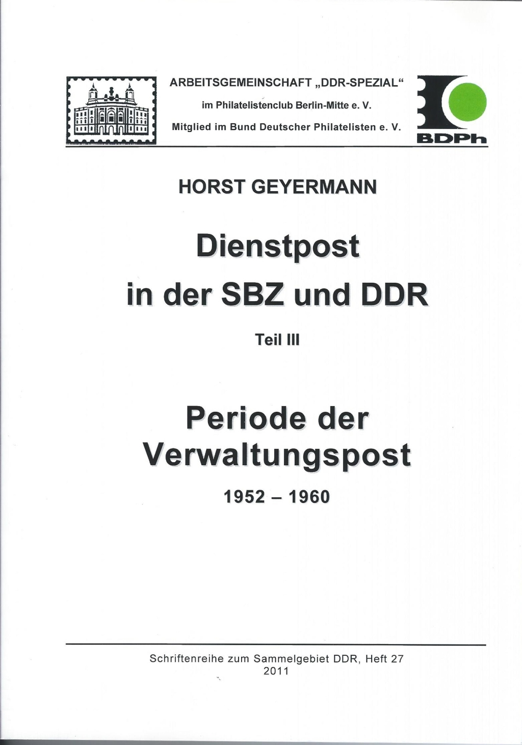 DDR Philatelie Literatur Dienstpost Verwaltungspost