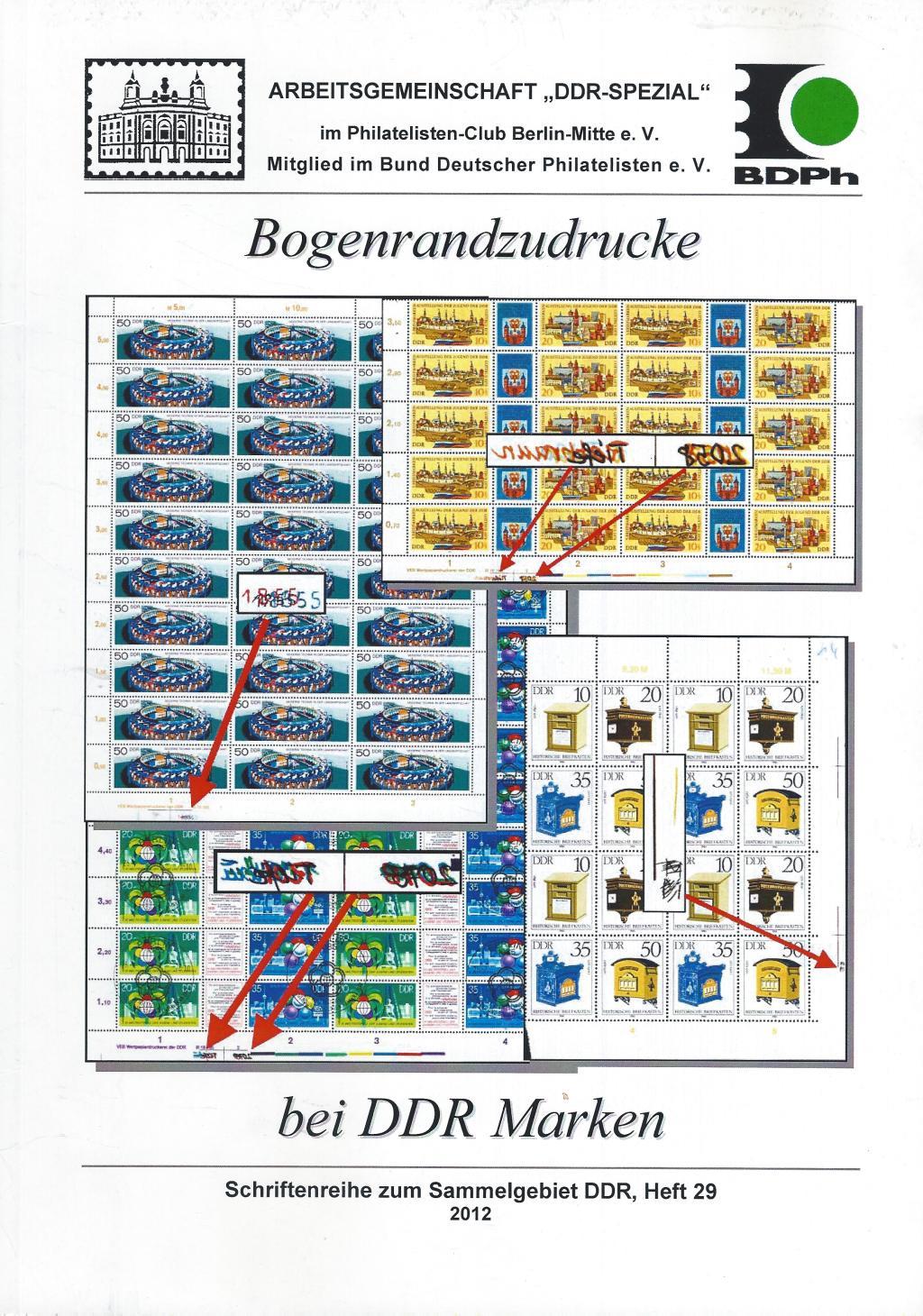 DDR Philatelie Literatur Bogenrand Zudrucke Katalog