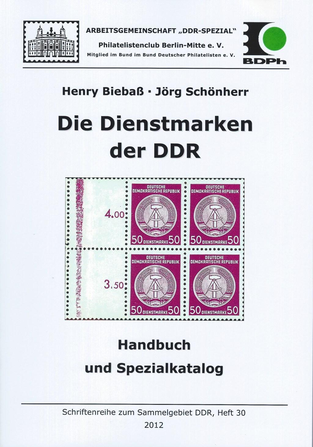 DDR Philatelie Literatur Dienstmarken Handbuch Katalog