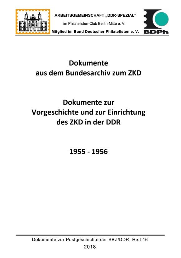 DDR Philatelie Literatur ZKD Bundesarchiv Vorgeschichte Einrichtung