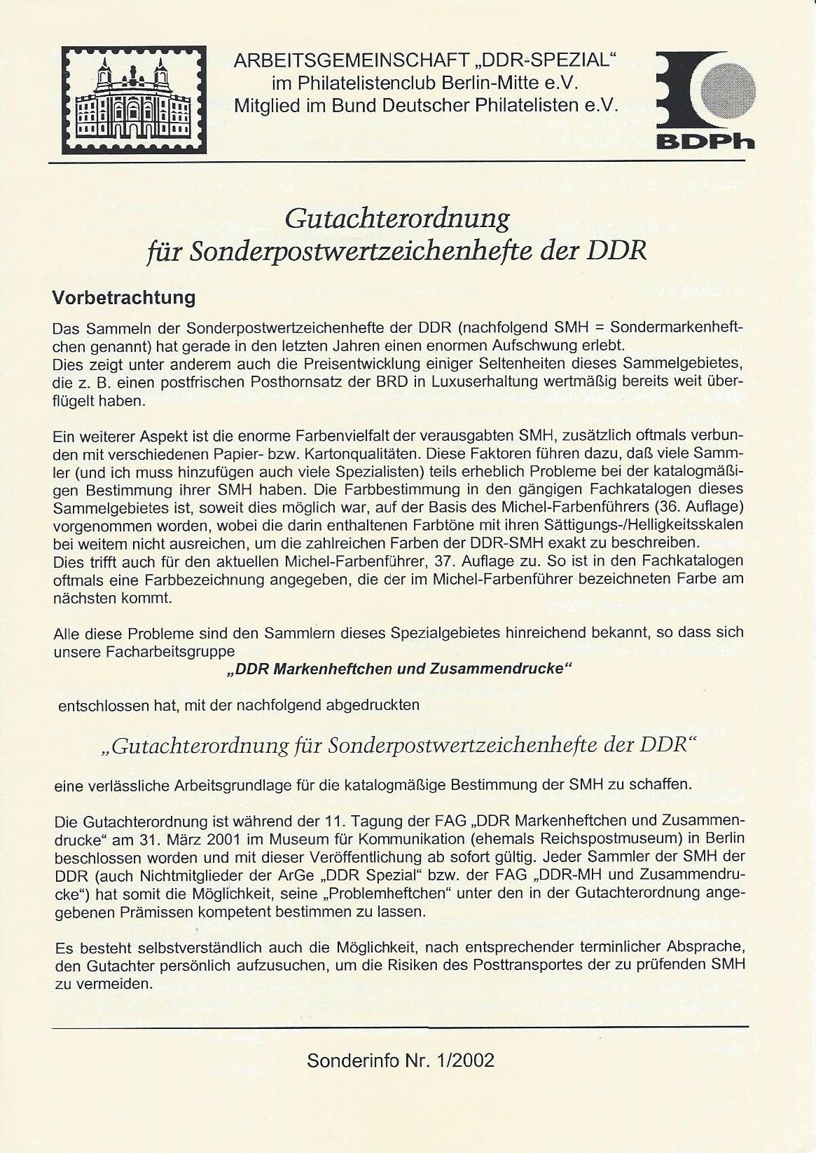 DDR Philatelie Prüfordnung Sondermarkenheftchen SMH