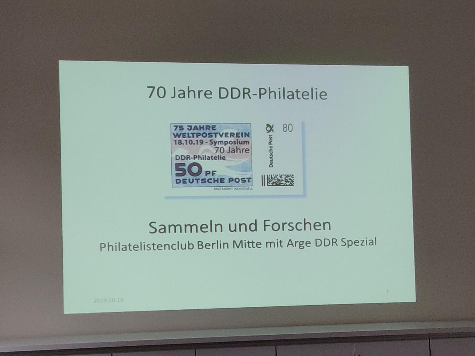 DDR Philatelie Symposium 70 Jahre